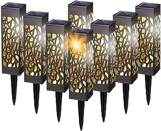Lampe Solaire de Jardin, 8 Pièces Éclairage Solaire Extérieur de Jardin, LED Blanc Chaud Etanche Décoration Pour Chemins P...