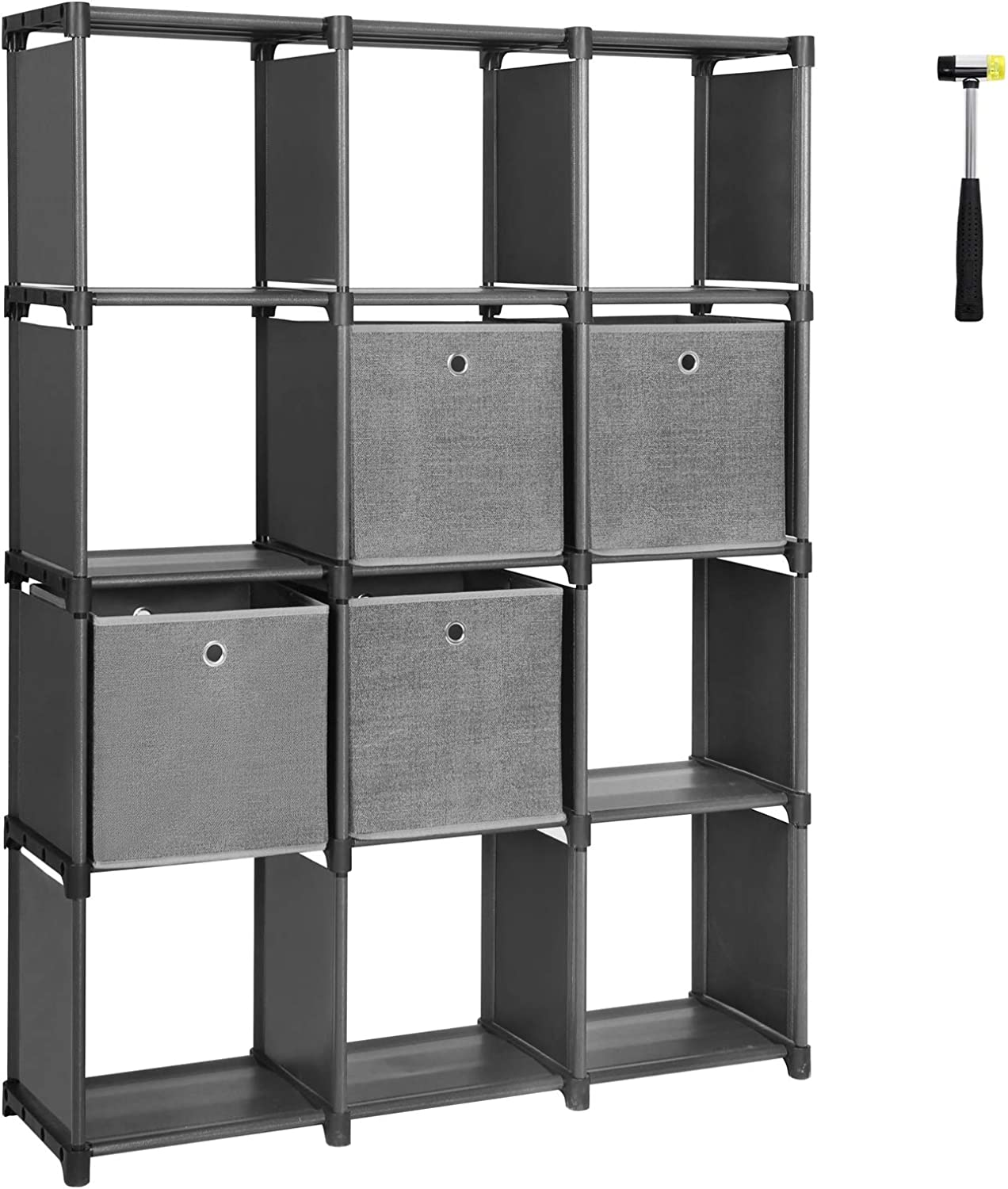 """SONGMICS DIY Cube Storage Unit with Storage Boxes, 12 Cubes Multifunctional Book Shelves and shoes Rack, Modular Sturdy Metal Frame, Includes Rubber Mallet, 55.1""""L x 11.8""""W x 41.3""""H, Black, ULSN34BK"""