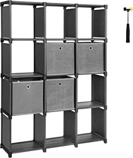 SONGMICS DIY Cube Storage Unit with Storage Boxes, 12 Cubes Multifunctional Book Shelves and Shoe Rack, Modular Sturdy Metal Frame, Includes Rubber Mallet, 55.1 x 11.8 x 41.3 Inches, Black ULSN34BK