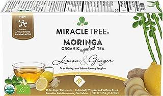Miracle Tree - Organic Moringa Superfood Tea, 25 Individually Sealed Tea Bags, Lemon & Ginger