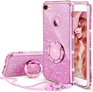 Cute iPhone 8 Case, Cute iPhone 7 Case, Glitter Bling Diamond Rhinestone Bumper with Ring Grip Kickstand Protective Thin Girly Pink iPhone 8 Case/iPhone 7 Case for Women Girl - Sakura Pink