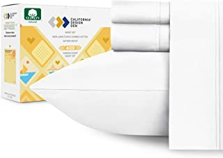 400-Thread-Count 100% Cotton Sheet Pure White Queen-Sheets Set, 4-Piece Long-Staple..