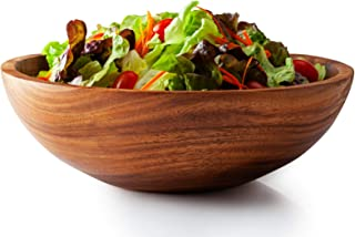 Acacia Wooden Salad Bowl with Servers Utensils, Large 12