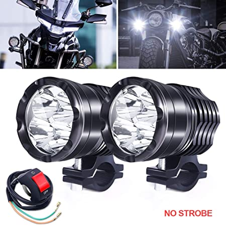 Motorbike Auxiliary Spot Fog Lights with Complete Wiring Kit /& 54-55mm Fork Clamp For Top Visibility