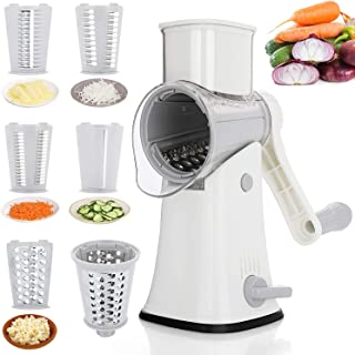 Tobeelec Manual Rotary Cheese Grater- 5 Stainless Replaceable Blades Kitchen Round Mandoline Slicer, Prefect for Fruit, Ve...
