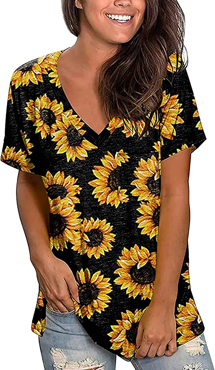 5665 Little Stars Tops for Women Casual Summer Flowers Printed Tshirts V Neck Tops Casual Loose Blouses Basic Tees