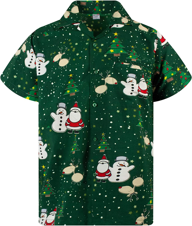 Hawaiian Shirt Men Funky Casual Button Down Shortsleeve Unisex X-Mas Christmas Music Gingerbread Santa Print