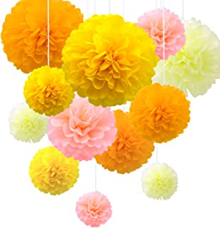 Tissue Paper Pom Poms Flowers Yellow Set of 14, 12, 10 inch, Pink Orange Kit, Flower Wedding Birthday Party Decoration Cheerleading Bouquet (Yellow)
