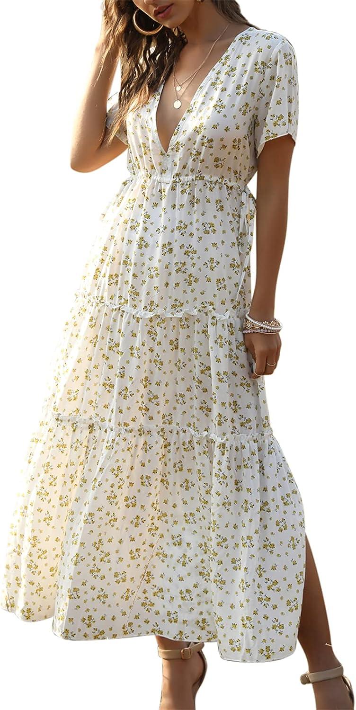 Jillumi Womens Dresses Deep V Neck Short Sleeve Floral Boho Beach Casual Long Ruffle Maxi Dress