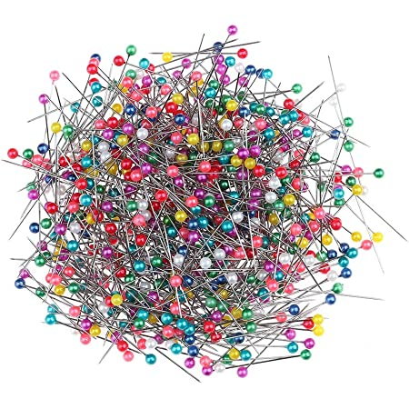 falllea 1000 Piezas de Alfiler de Costura Alfileres con Cabeza de Colores Pines de Cabeza Cristal Pasadores de Costura para Corte y Confección Decorar de Joyas Manualidades - 38 mm