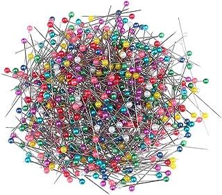 falllea 1000 Piezas de Alfiler de Costura Alfileres con Cabeza de Colores Pines de Cabeza Cristal Pasadores de Costura par...