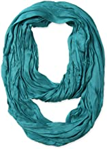 corciova Silk Cotton Solid Color Light Weight Wrinkled Infinity Loop Scarf