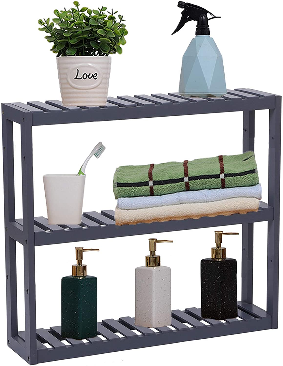 Bamboo 3-Tier Bathroom Limited price Shelf Adjustable Rack Storage New mail order Wall Mount