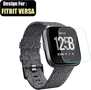 TASLAR Screen Protector Arc Edge Tempered Glass Scratch Guard Card for Compatible Fitbit Versa (2018) / Versa Lite Edition Watch (Transparent)