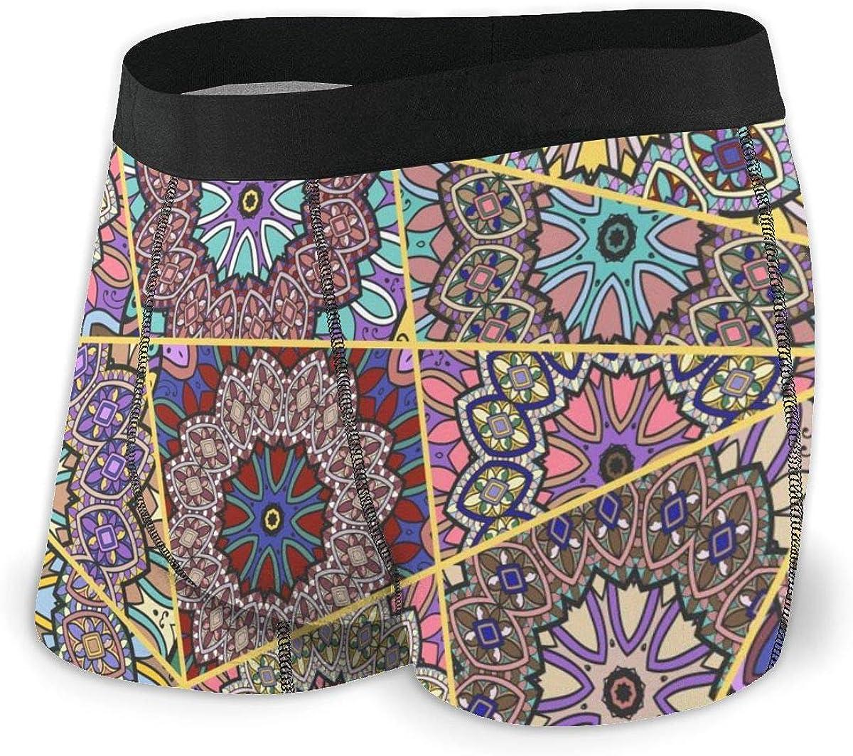Mens Boxer Briefs Vintage Bohemia Patchwork Breathable Underwear