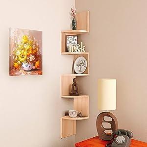 NOVA FURNITURE 5 Tiers Floating Wall Mount Corner Shelf, Home Decor Display Shelves for Living Room, Bedroom, Bathroom, Office, Kitchen, Natural Oak