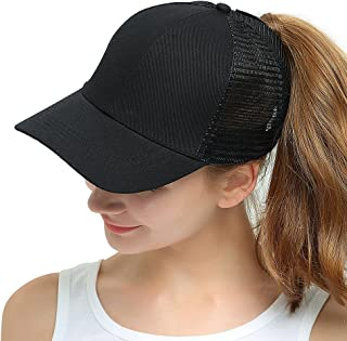 Womens Ponytail Messy High Buns Mesh Trucker Ponycaps Plain Baseball Cap Dad Hat Adjustable Size,Variy Styles and Colors