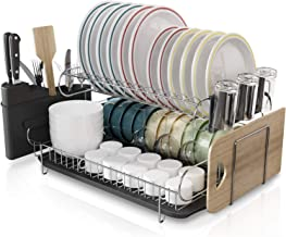 Kitchen Dish Rack, Boosiny 2 Tier Large 304 Stainless Steel Dish Drying Rack with Drainboard Set Utensil Holder Dish Drain...