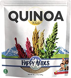 Happy Andes White Quinoa 3 lbs - Non Gluten, Whole Grain Rice Substitute - Ready to Cook Food for Oats and Seeds Recipes - Healthy Meal with Vitamins and Protein - Best Value Grocery Bag