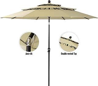 PHI VILLA 10ft 3 Tier Auto-tilt Patio Umbrella Outdoor Double Vented Umbrella, Beige