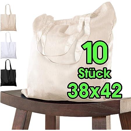 Baumwolltasche 38x42 cm unbedruckt, 10 Stück - Zwei KURZE Henkel OEKO-TEX® zertifiziert Stofftasche, Tragetasche, Baumwollbeutel, Einkaufstasche, Jutebeutel, Stoffbeutel Einkaufsbeutel bemalen Natur