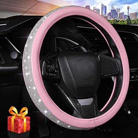 Bling Diamond Leather Steering Wheel Cover for Women Girls with Crystal Rhinestones, Universal Fit 15 Inch Car Wheel Protector (Pink)