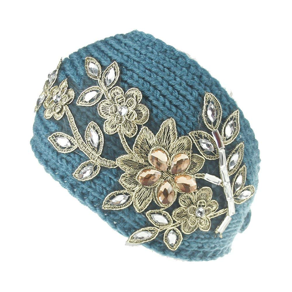 Urberry Women Knitted Headband with Crystal Dotted (Blue)