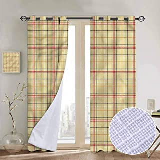 NUOMANAN Curtains Plaid,Vintage Style Tartan Pattern,Treatments Thermal Insulated Light Blocking Drapes Back for Bedroom 52