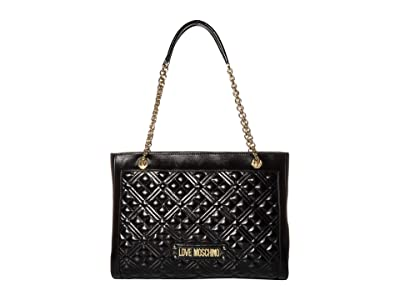 LOVE Moschino Quilted Tote Bag (Black) Handbags
