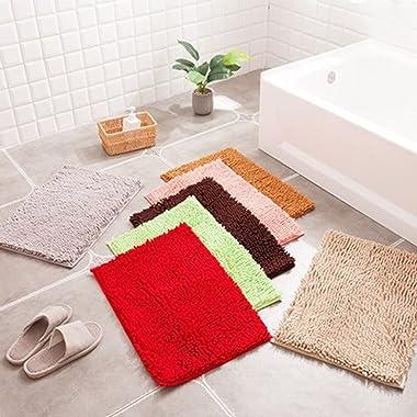 YuYiY Alfombra de baño mullida de chenilla, resistente al deslizamiento, absorción de agua, alfombrillas de baño gruesas, par