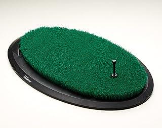 Fiberbuilt Flight Deck Golf Hitting Mat - Oval Shape Outdoor/Indoor Real Grass-Like Performance Golf Mat with Durable Adju...