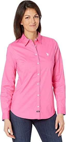 Long Sleeve Solid Stretch Poplin Shirt