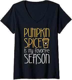 Womens Pumpkin Spice Is My Favorite Season T-Shirt V-Neck T-Shirt