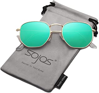 69b6b02a718 SOJOS Small Square Polarized Sunglasses for Men and Women Polygon Mirrored  Lens SJ1072