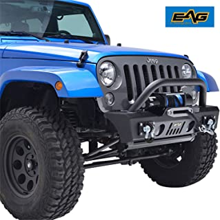 E-Autogrilles 51-0357 EAG Stubby Front Bumper with OE Fog Light Housing for 07-18 Jeep Wrangler JK