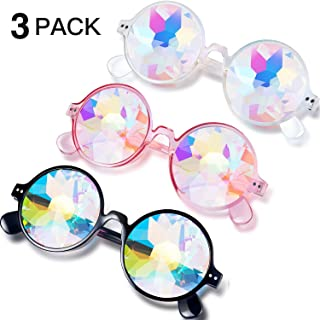 Festivals Kaleidoscope Rainbow Sunglasses, Prism Sunglasses Goggles Crystal Lenses Rave Festival Party EDM Sunglasses