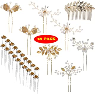 inSowni 28 Pack Wedding Bridal Hair Side Combs+U Shaped Hair Pins Clips Pieces Accessories Rhinestone Pearl Flower Gold fo...