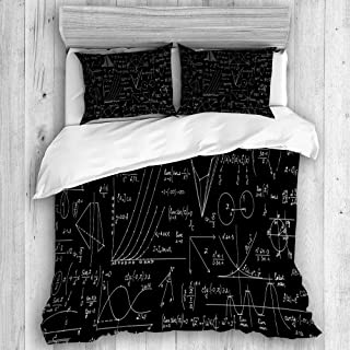 KISSENSU Funda Nórdica Cama,geometría de Patrones sin Fisuras Vector científico matemático,Juego de Fundas de edredón y de Almohada de Microfibra, 220 x 240 cm + 2 Fundas 50 x 80 cm