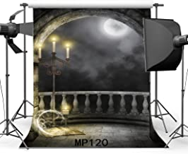 Gladbuy 5X7FT Gothic Backdrop Magic Book Shining Moon Night Candlestick Dark Cloud Weathered Grunge Brick Wall Arch Door Vinyl Photography Background Kids Adults Masquerade Photo Studio Props MP120