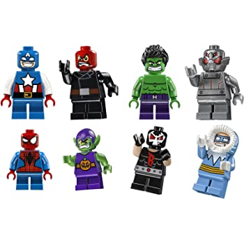 Amazon Com Lego Dc Super Heroes Mighty Micros Minifigure Pack Of 8 Spider Man Bane Red Hood Captain Cold Green Goblin Ultron Captain America Hulk Toys Games