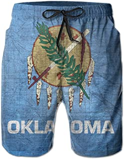 Retro Oklahoma Flag 3D Print Men's Beach Shorts Swim Trunks Workout Shorts Summer Shorts