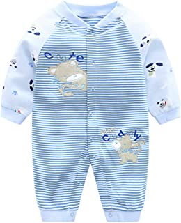 Pyjama Nouveau née Combinaisons en Coton Bébé Filles Garçons Grenouillères Cartoon Outfits, 3 mois,Chat