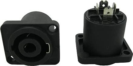 10 Pcs Speakon 4 Pole Female Jack Compatible Audio Cable Connector Rectangle Black Color Sl5281 Skywalking