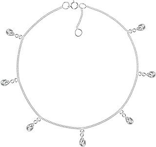 Teardrop Dangle White Cubic Zirconia .925 Sterling Silver Link Anklet