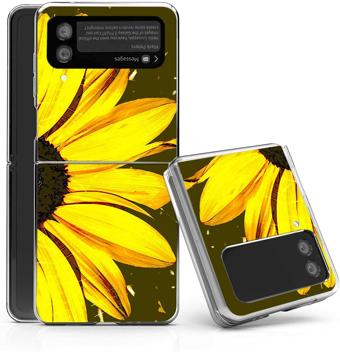 Galaxy Z Flip 3 5G Case,Bcov Sunflower Large Flower Anti-Scratch Solid Hard case Protective Shookproof Phone Cover for Samsung Galaxy Z Flip 3 5G