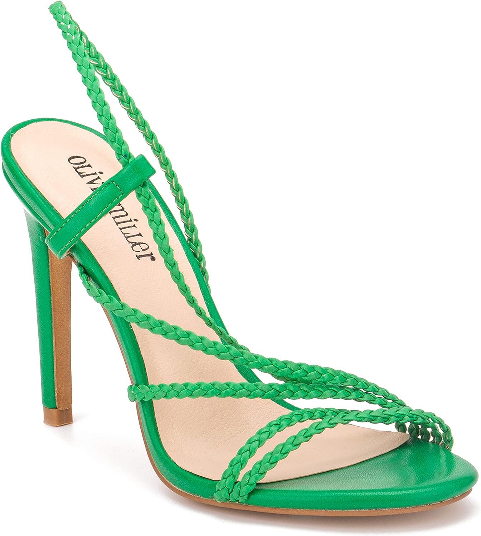Olivia Miller Women's Shoes, Runway Ladies Slip On Braided Straps Open Toe Stiletto High Mid Heel Sandals