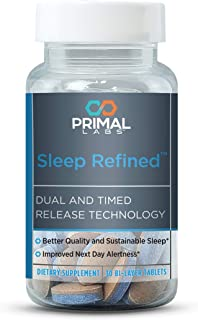Primal Labs SleepRefined Sleep Aid for Stress Relief & Anxiety Relief, Non-Habit Forming Sleeping Pills with Magnesium Sup...