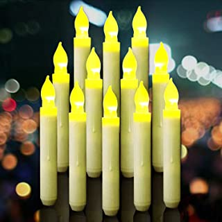 Flameless Taper Candles, LED White Pillar Candles, Yellow Flickering Light, Battery Operated Floating Hanging Candles for Harry Potter Themed Party Decorations, Halloween Christmas Wedding Home Decor