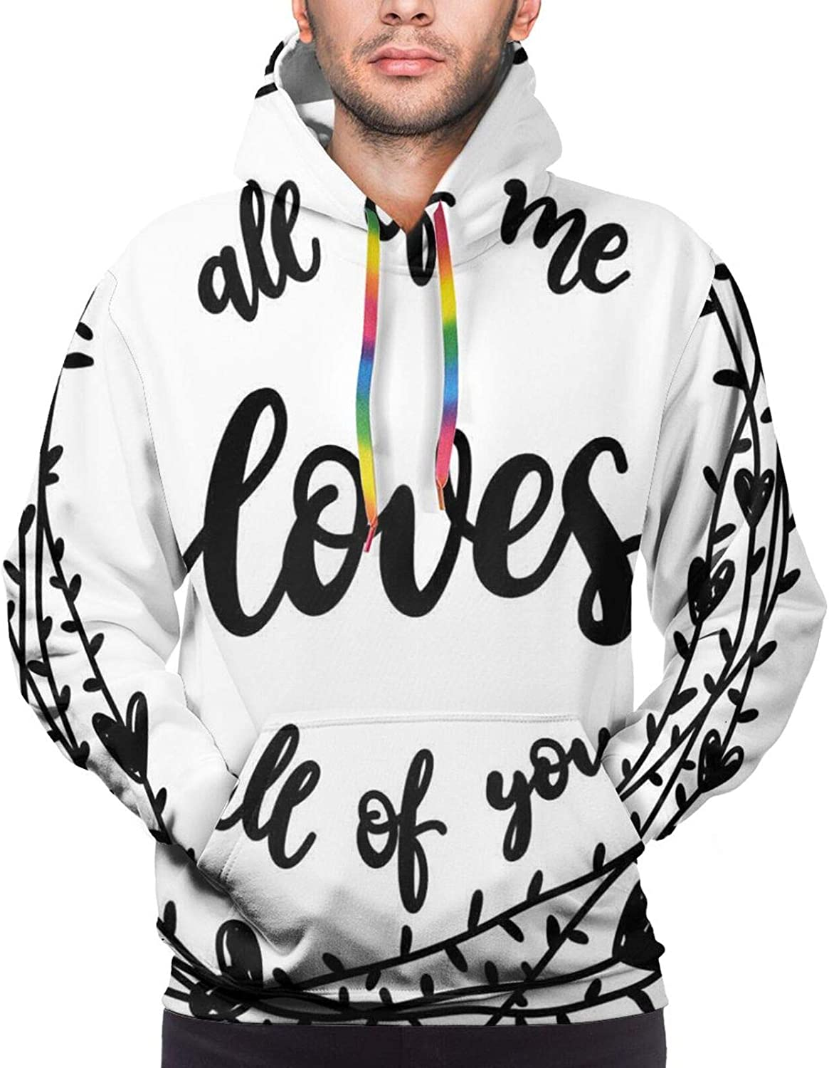 Men's Hoodies Sweatshirts,All of Me Loves All of You Quote in A Wreath with Hearts Sketch Graphic Art