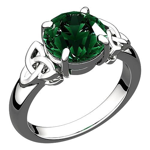 Trinity Heart Pendant 925 Sterling Silver Celtic Emerald CZ May Birthstone